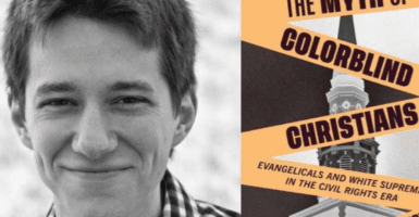 A headshot of a man next to a book titled The Myth of Colorblind Christians